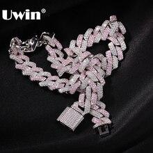 UWIN Hiphop مايكرو معبد زركون اثنين لهجة الشق وصلة المختنق الكوبان 13 مللي متر الأبيض والوردي ربط قلادة النساء مجوهرات فاخرة