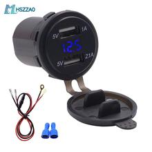 3.1A Center console double USB charger + voltmeter+60cm line, accessories modifi