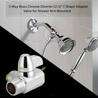 G1/2 Polegada três vias chuveiro braço desviador universal tomar banho componente t forma adaptador montagem para casa sistema de água