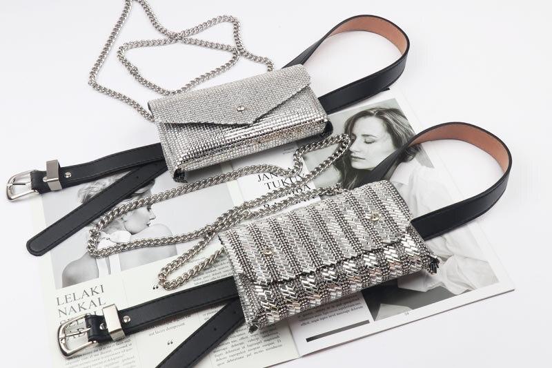 2019 Bling Rhinestone Fanny Packs Women Fashion Crystal Waist Bag PU Leather Waist Belts Chain Cross Shoulder Phone Purse Bags
