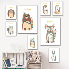 Woodland Animal Deer Fox Bear Owl Hedgehog Nordic Posters And Prints Wall Art Canvas Painting Pictures Baby kids Room Decor