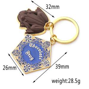 Image 3 - Wholesale 10 pcs/lot Movie Potter Frogs Chocolate Keychain Platform Pendant Key Chains for Women Men Cosplay Jeweley Gift