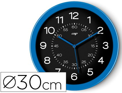 WATCH CEP WALL PLASTIC ROUND OFFICE 30 CM DIAMETER COLOR BLUE AND BLACK COLOR DIAL