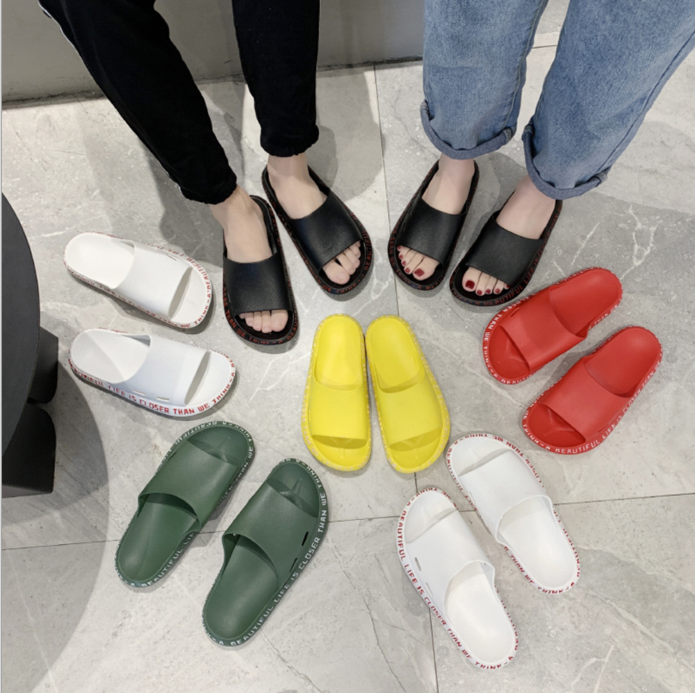 Woman Summer Couple Sandals Home Female Bathroom Non-slip Slippers Flip Flops Outdoor Shoes Beach Shoes 36-45 Large Size Slide