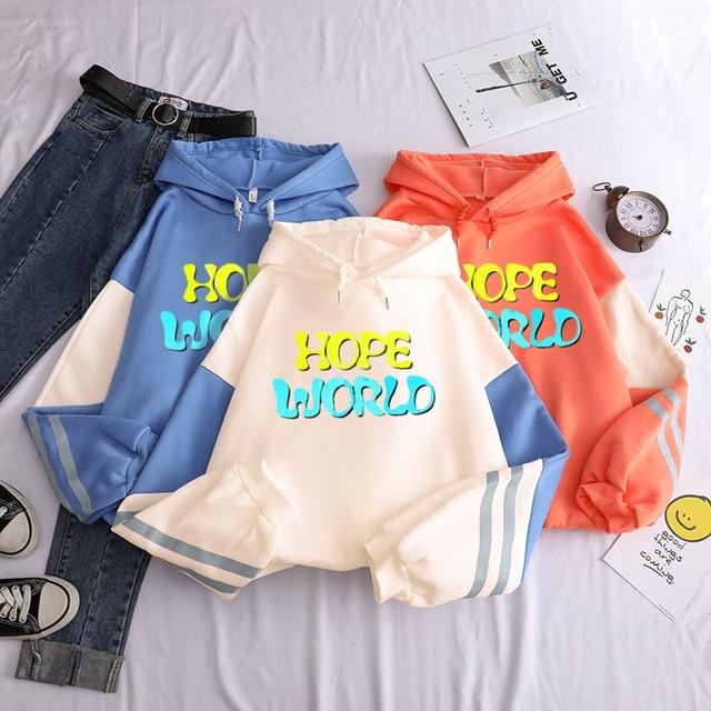 Oversized sweatshirt spring streetwear Bangtan Boys hope world print hoodies pullover 2020 fashion harajuku winter hoodie women 1