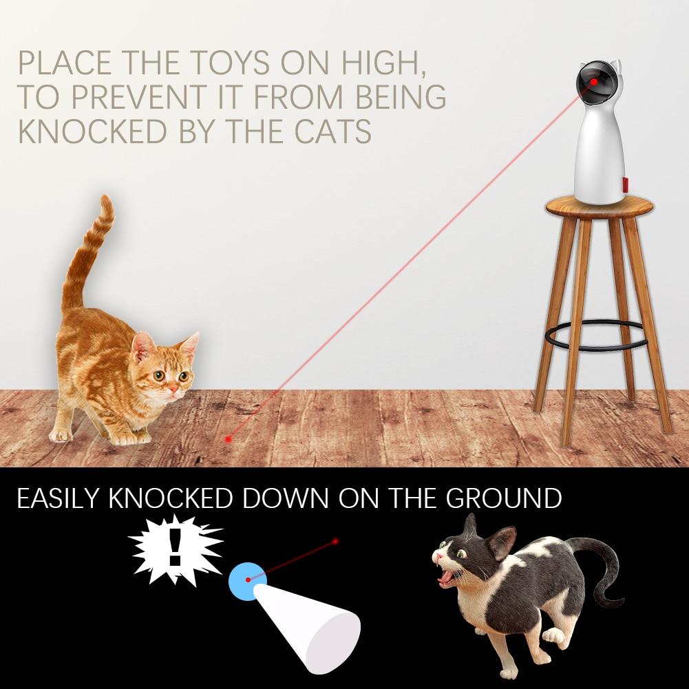 Gato automático brinquedos interativos inteligente provocação animal de estimação led laser engraçado modo handheld eletrônico pet para todos os gatos laserlampje kat 4