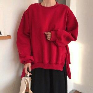 Image 2 - GALCAUR Lace Up Side Split Sweatshirts Female O Neck Lantern Long Sleeve Warm Plus Thick Autumn Womens Sweatshirt Fashion 2020