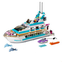 Building Blocks Brick Toys For Children Girls Dolphin Cruiser Large Yacht Club Cruise Vessel Ship Compatible with Legoings