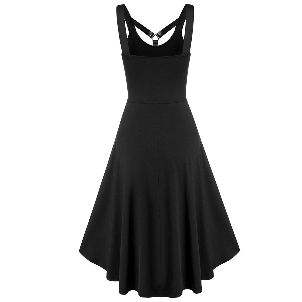 new summer dress for Women Sleeveless skull Skeleton Print Ghost Claw Print Insert High Low party