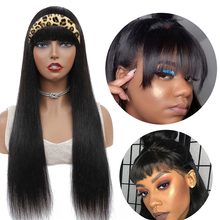 Straight Human Hair Wigs With Bangs Machine Made Wig Free Headband Wigs Natural Color For Black Women Remy Jarin Hair