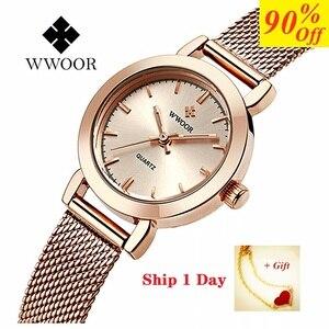Image 1 - Часы WWOOR Женские Кварцевые водонепроницаемые, брендовые модные золотистые, с браслетом из нержавеющей стали