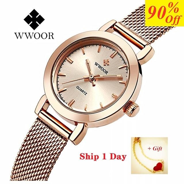 Часы WWOOR Женские Кварцевые водонепроницаемые, брендовые модные золотистые, с браслетом из нержавеющей стали