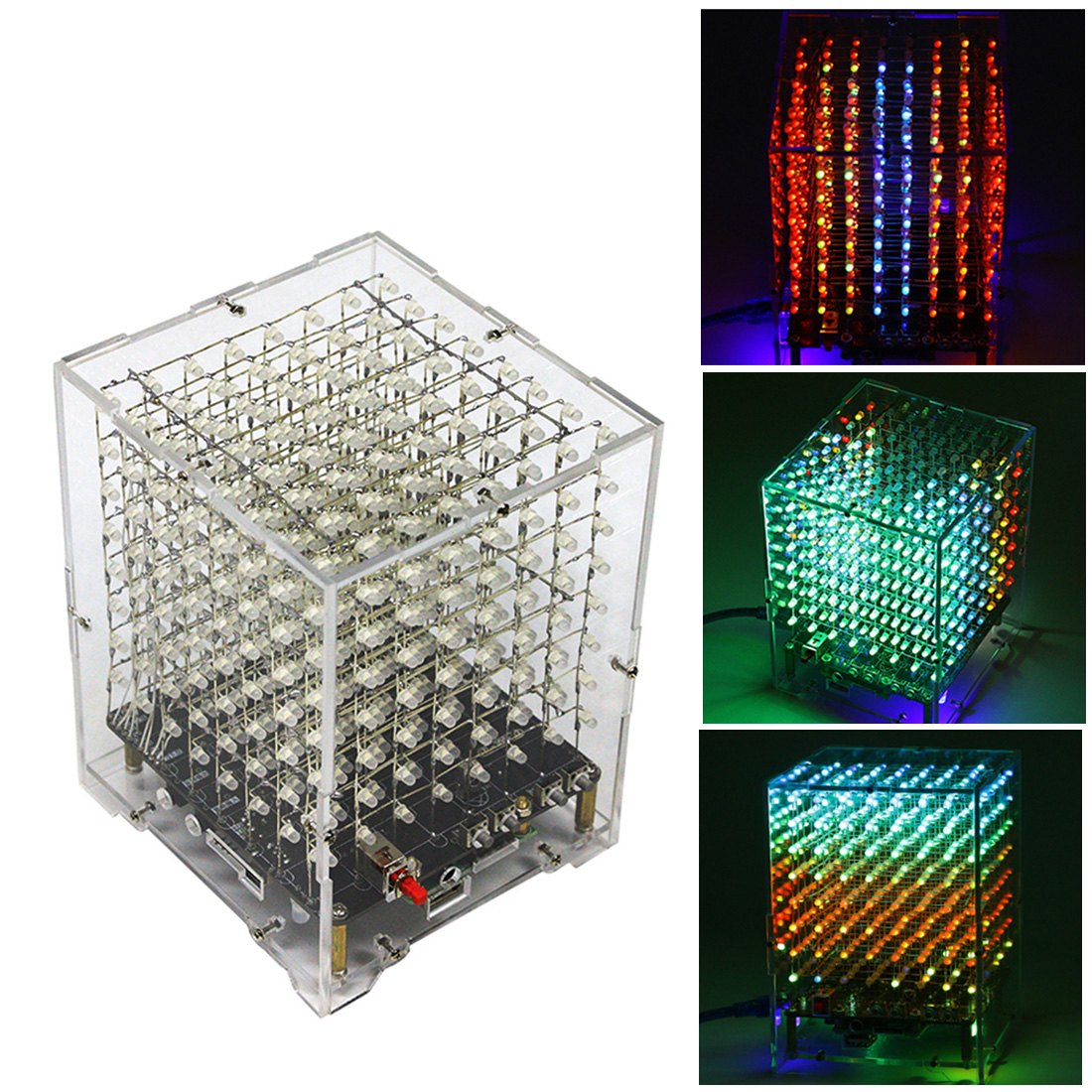 DIY Welding Electronic Bulk Parts Bluetooth Light Cube Kit (with Bluetooth, With Horn, Remote Control, Seven Colours Changing)-L