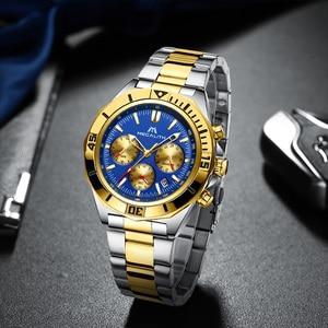 Image 2 - MEGALITH hommes Sport montres de luxe marque or bracelet en acier montres hommes étanche lumineux Quartz homme horloge Reloj Hombre 2019
