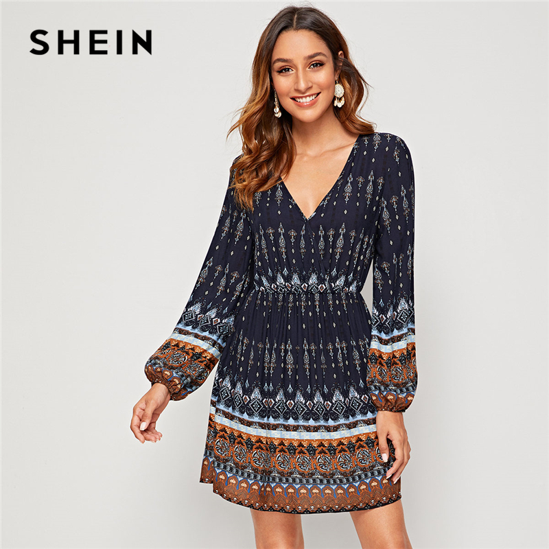 SHEIN Navy V Neck Tribal Print Boho A Line Dress Women 2019 Autumn Holiday Bishop Sleeve High Waist Short Dresses For Ladies