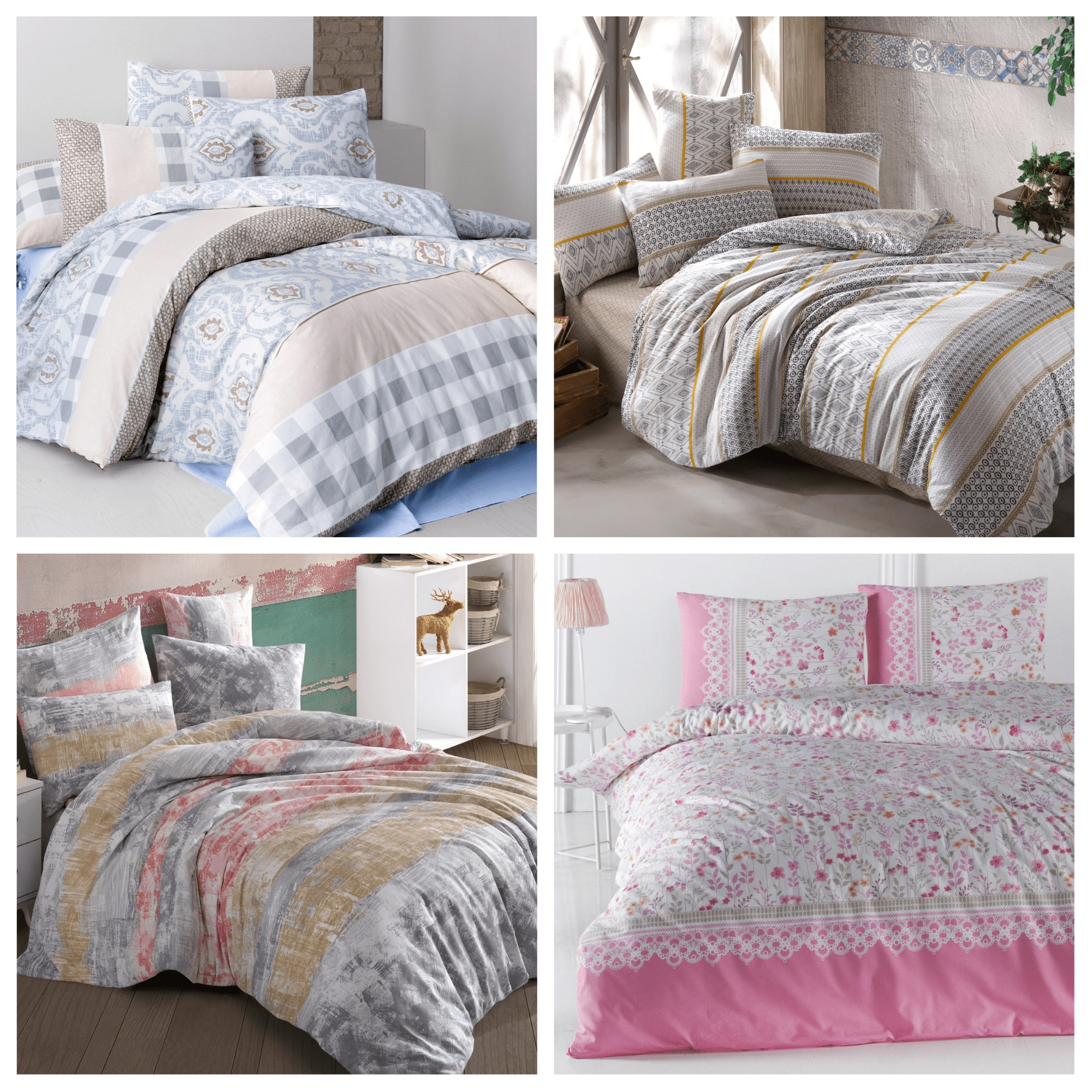 Bedding Set Fitted Sheet With 100% Cotton | Luxury Ranforce Bed Linen Set 3 Pcs Duvet Cover Bed Set Cover Set From Turkey Pamuya