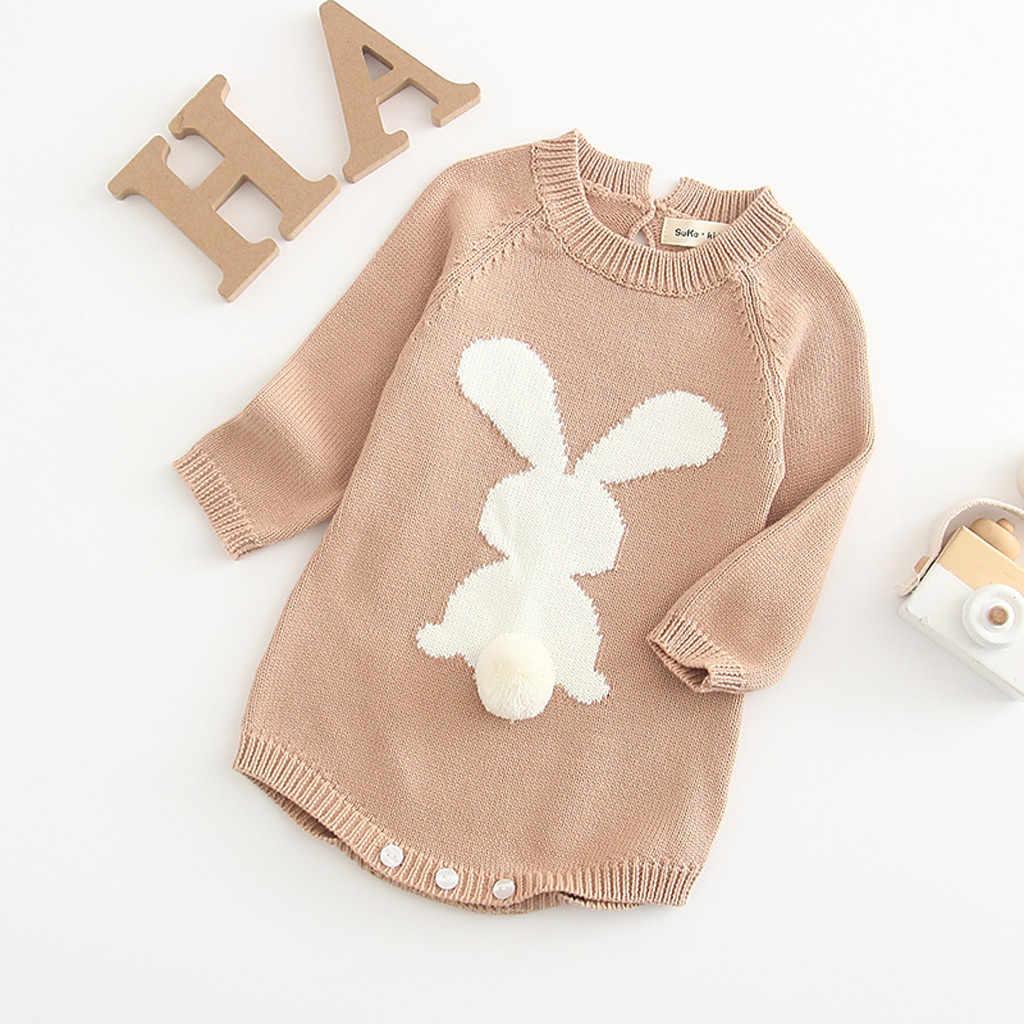 Recién Nacido bebé niña dibujos animados tejer conejo Pom suéter Tops mono dibujos animados Animal Kawaii estilo japonés