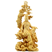 Handmade Boxwood Carving Buddha Statue Birthday Gifts Home Decoration Sculpture Desk Office Craft Figure Guanyin Artware