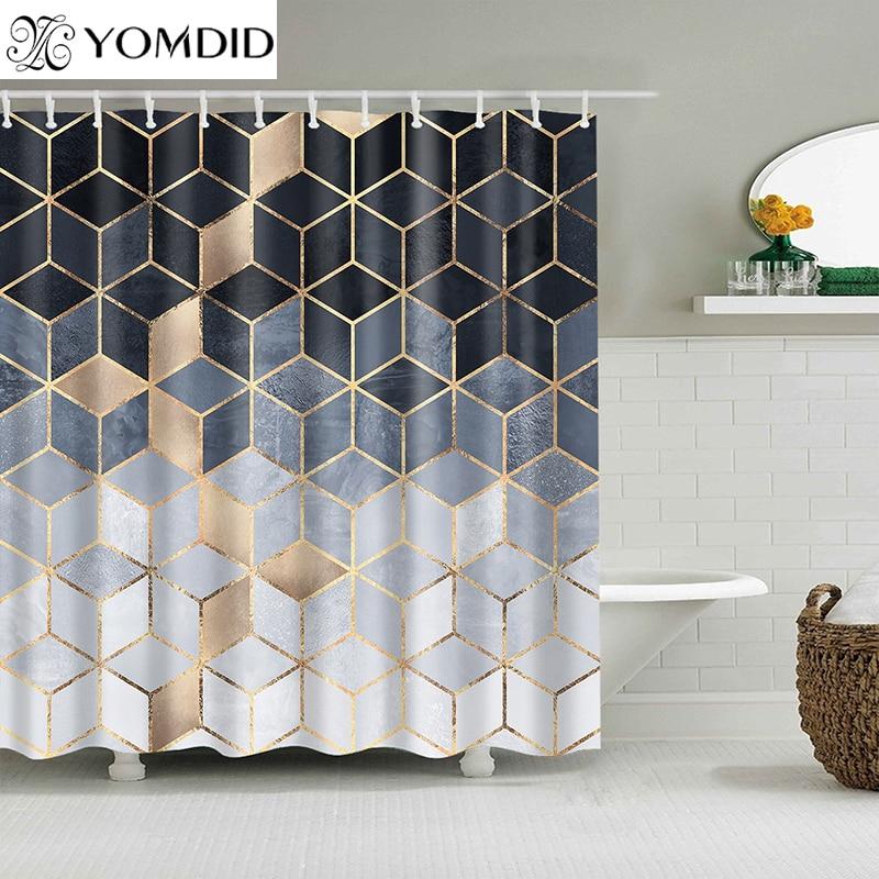 YOMDID 大理石パターンバスカーテン防水シャワーカーテン幾何バススクリーン印刷されたカーテンのための浴室のギフトナヴィダード