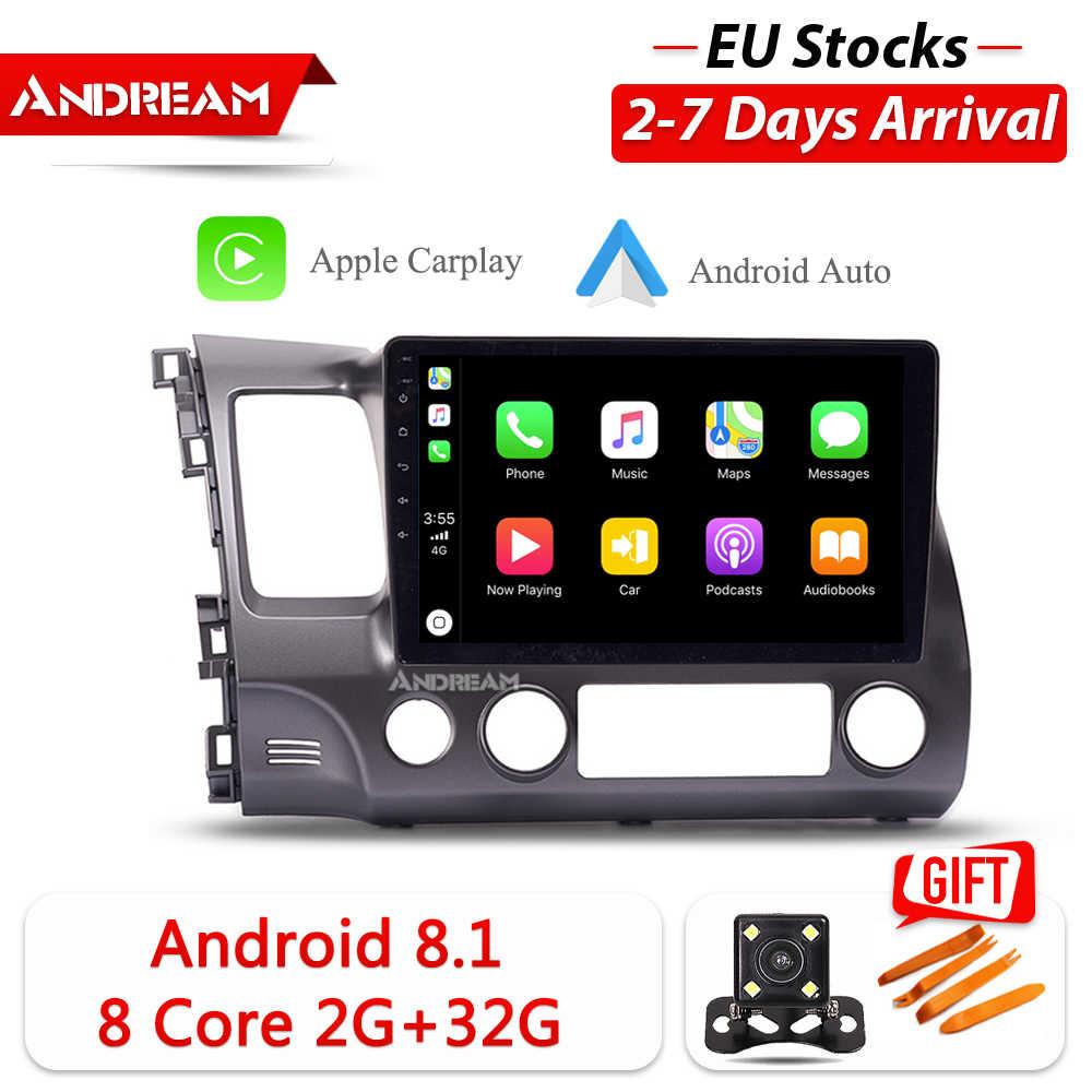 """Andream 10.1 """"Android8.1 2 グラム 32 グラム車の gps ナビゲーションヘッドユニットマルチメディアホンダシビック 2005-2012 ステレオラジオ内蔵 carplay"""