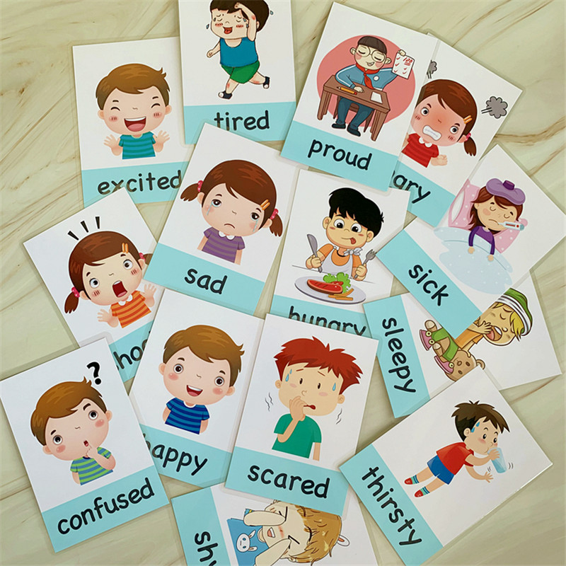 New 14pcs/set Baby English Learning Cards Cartoon Emotion Flash Cards For Children Early Educational Toy Memory Game For Kids 5