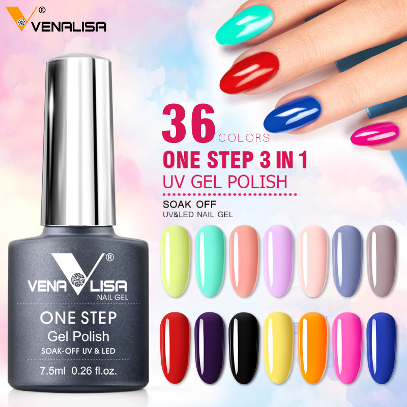 36pcs/kit VIP Wholeset  3 In 1 UV Gel Polish One Step Gel Lacquer VENALISA Soak Off Organic UV LED Nail Gel Varnish Nail Varnish