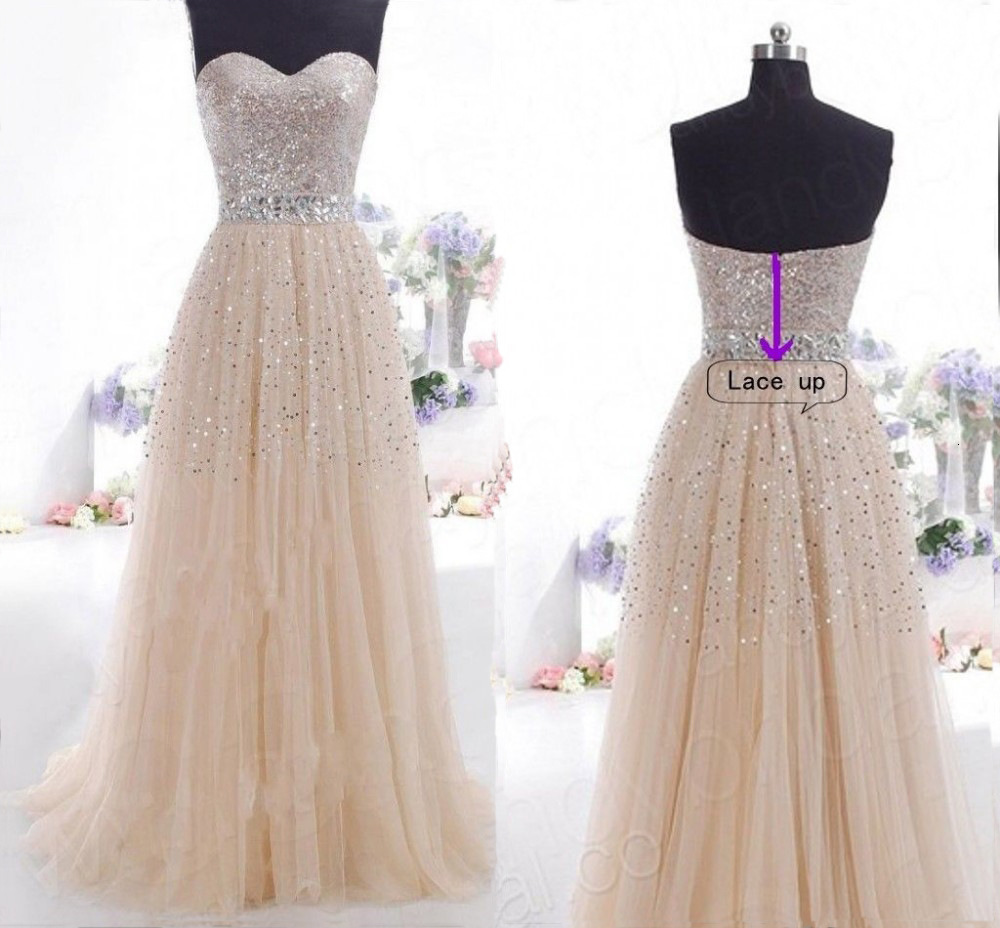 BacklakeGirls 2019 Sexy Strapless Sleeveless Lace Up Sequined Tulle Long Woman Dress For Wedding Party Vestidos Formales
