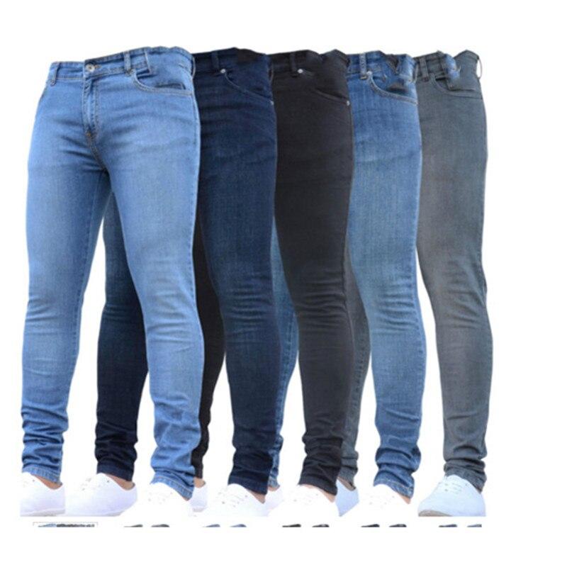Мужские джинсы скинни, темно-синие нерваные джинсы скинни, Стрейчевые брюки из денима с эластичным поясом, длинные брюки большого размера в ...