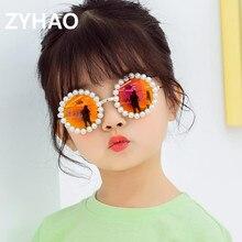 Children Sunglasses Handmade Luxury Brand Pink UV400 Round Girls Lentes-De-Sol Pearl