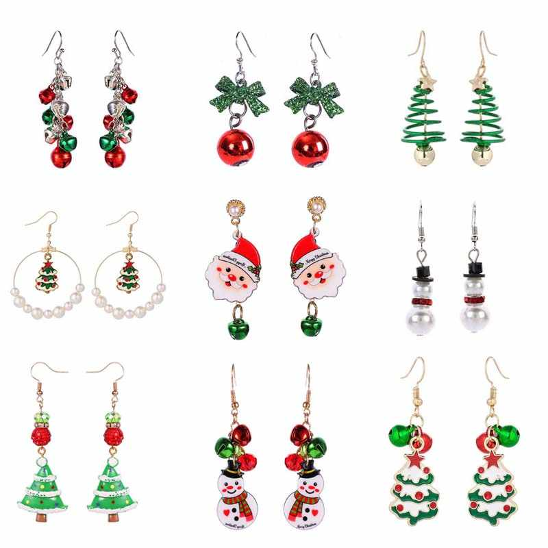 New Christmas Earrings Crystal Snowman Jewelry Christmas Tree Stud Earring For Women Creative Party Accessories Girl Gifts