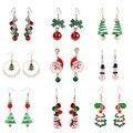 Новые рождественские серьги, украшения в виде снеговика с кристаллами, серьги-гвоздики в виде рождественской елки для женщин, креативные ве...