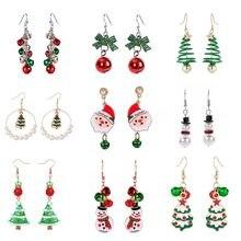 Novo natal brincos de cristal boneco de neve jóias árvore de natal parafuso prisioneiro brinco para as mulheres criativo festa acessórios presentes da menina