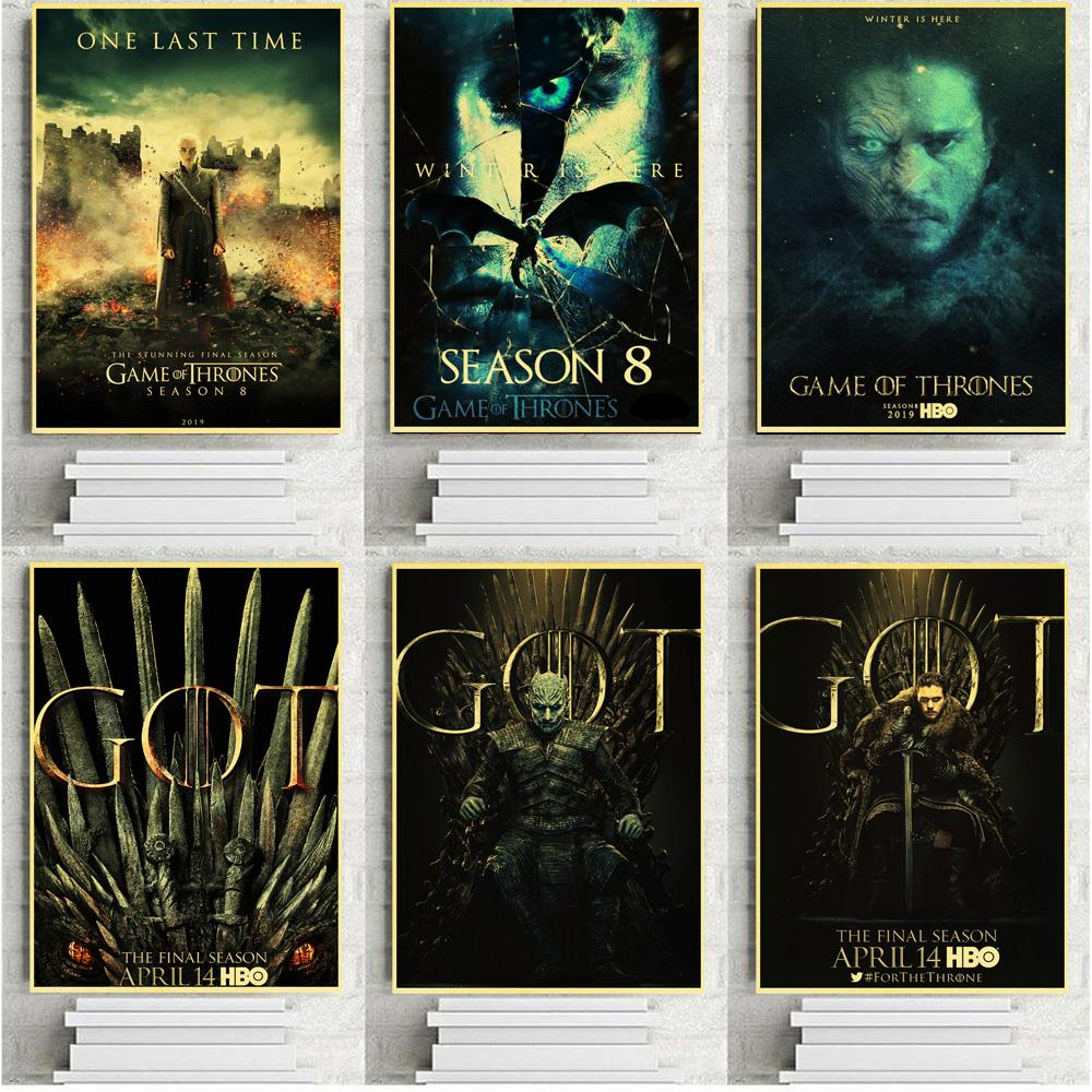 Game of Thrones Season 8 Poster and Kraft Paper Prints Wall Art Retro Painting for Home Living Room Decor Posters image