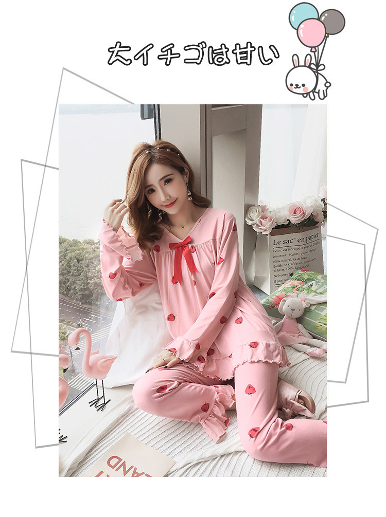 Autumn Women Cotton Pajamas Sets 2 Pcs Cartoon Printing Pijama Pyjamas Long Sleeve Bowknot Pyjama Sleepwear Sleep Set 58