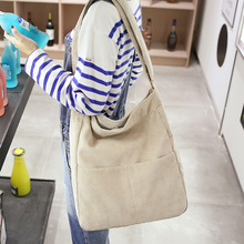 Women Stripe Corduroy Shoulder Bag Large Capacity Simple Vintage Canvas Messenger Bags Female Solid Soft Cloth Handbag Big Totes