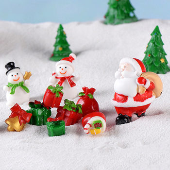 1Pc Christmas Miniature Santa Claus Sled Reindeer Gift Train Terrarium Figurines Fairy Garden Decor Snow Landscape Model image