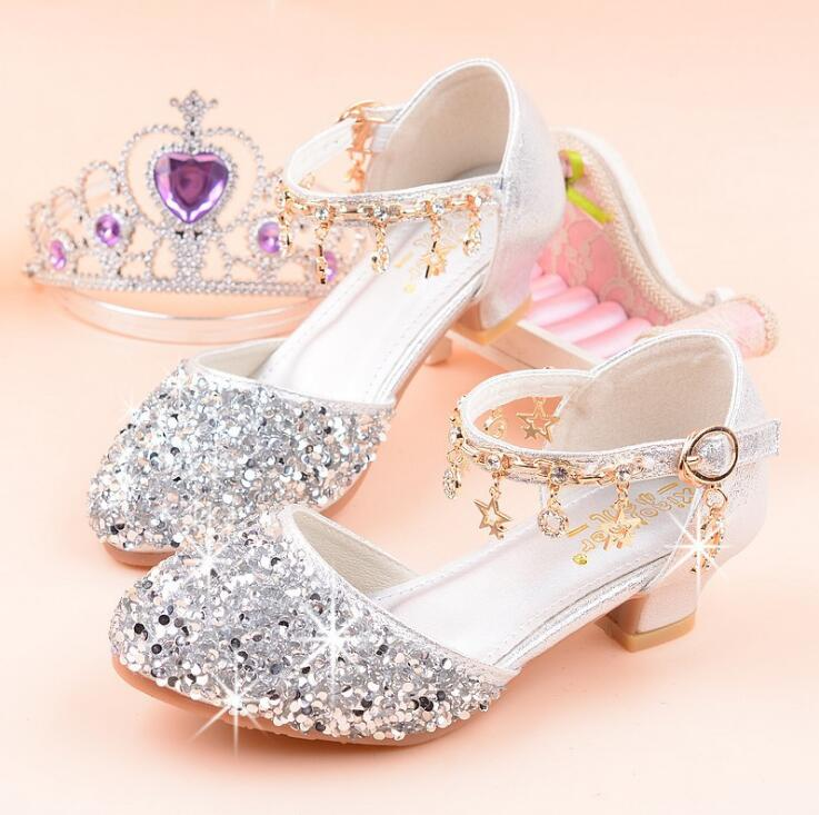 Beautiful Children Sandals Baby Girls Princess Rhinestone Soft Party Dress Shoes Kids Flat Sandals Pink Silver