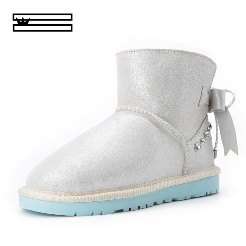 SHUANGGUN 2019 botas de nieve australianas clásicas de piel de oveja y lana en una bota zapatos de algodón más gruesos botas de nieve para mujer