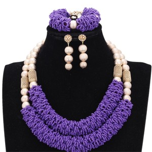 Image 3 - Purple Fine Jewelry Sets For Women Gold Color Balls African Set Jewelry Nigerian Wedding Beads Sets Free Shipping 2018 Fashion