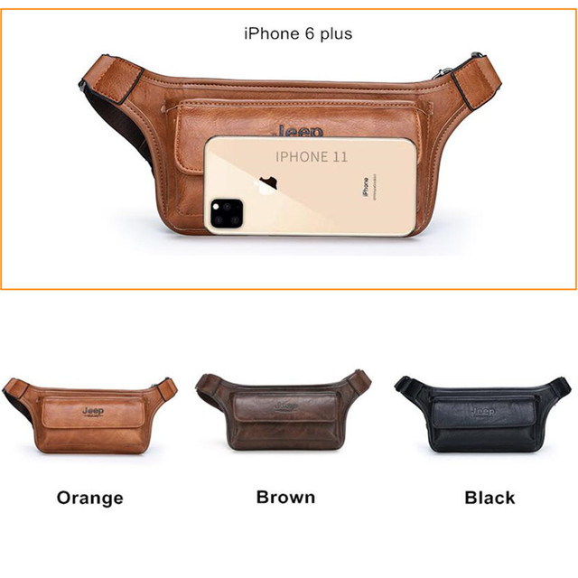 JEEP BULUO Brand Casual Functional Money Phone Belt Bag Chest Pouch Waist Bags Unisex Pack Sling Bag Leather Hip Bag 3