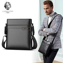 цена на LAORENTOU Genuine Leather Men Crossbody Bag Business Shoulder Bag Real Cow Leather Side Messenger Bag for Man Vintage Casual Bag