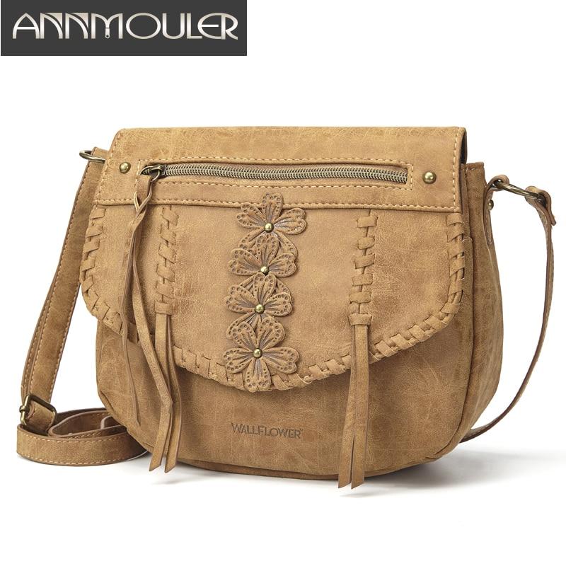 Annmouler Designer Women Handbag Purse Pu Leather Shoulder Bag Flower Crossbody Bag Small Ladies Messenger Bag Brown Lace Totes