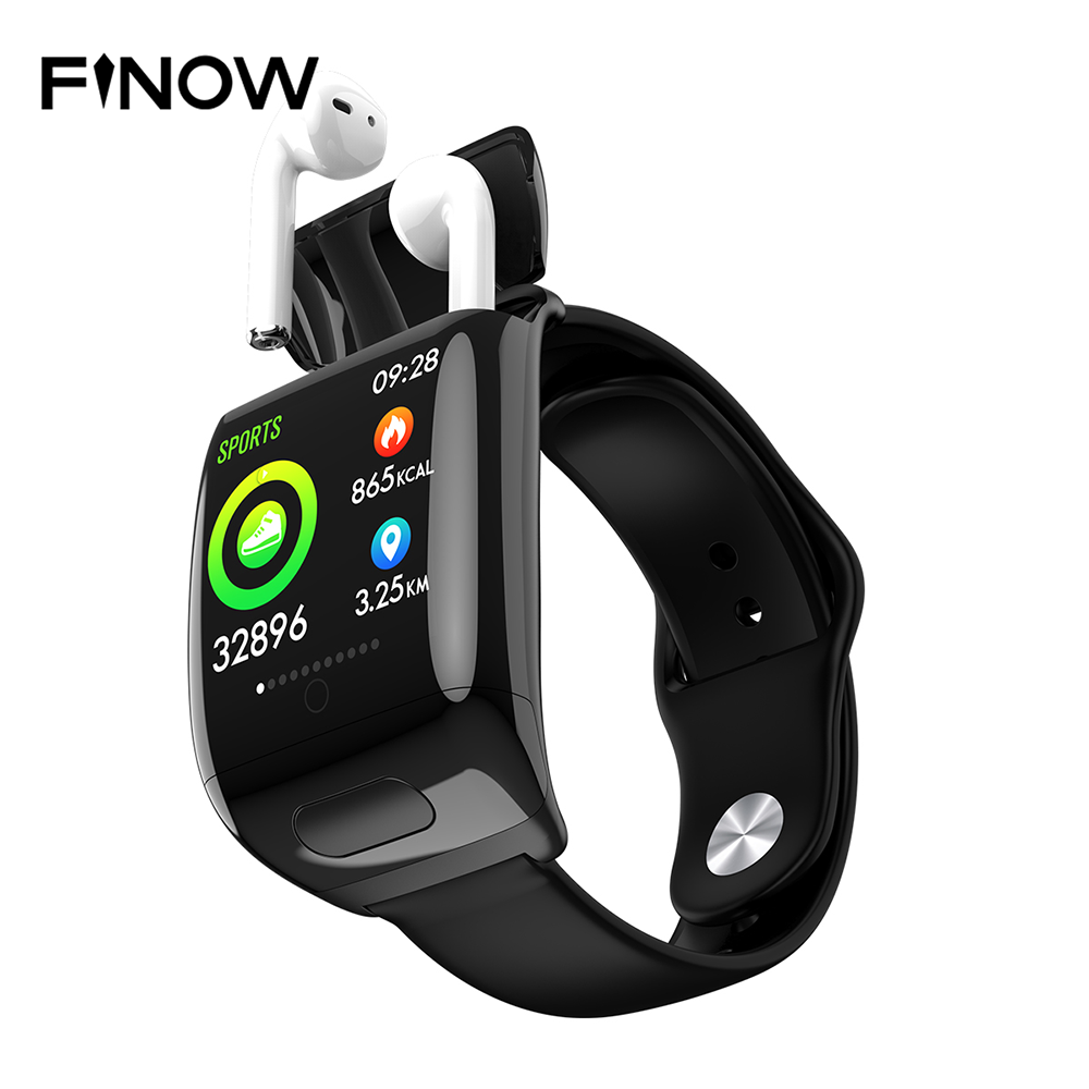 Finow G36 New 2 In <font><b>1</b></font> TWS Smart Watch Wireless Bluetooth Earphone <font><b>Smartwatch</b></font> Call Message Reminder Heart Rate Smart Watches image