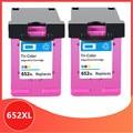 2 Pc di Colore 652XL 652 Cartuccia di Inchiostro Compatibile per Hp 652 Xl per HP652 Deskjet 1115 1118 2135 2136 2138 3635 3636 3835 4535