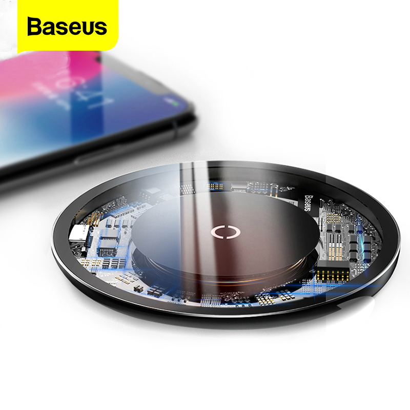 Baseus 10w QI Wireless Charger For iPhone Xs X 8 Fast Wireless Charger For Samsung Galaxy S9 S8 Note 9 8 Wireless Charging Pad