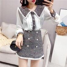 Celebrity Style Women 2 Piece Outfits Fashion Skirt Suit Autumn Chiffon Shirt Sh