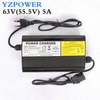 Yzpower carregador de bateria de lítio de 63v 5a 4.5a 4a para 55.5v li-ion lipo bateria pacote ebike e-bike ferramentas inteligentes