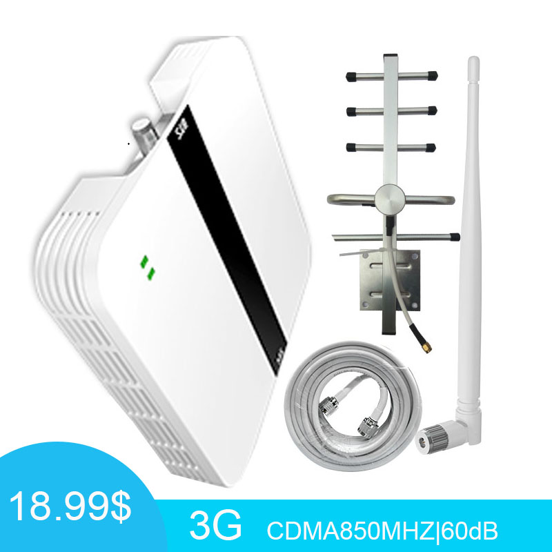 Repeater <font><b>850Mhz</b></font> 2G 3G Booster CDMA GSM 850 Repeater Mobile phone Signal Amplifier Band 5 Yagi+Whip Antenna Coaxial Cable - image