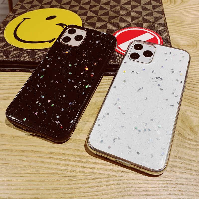 Bling Glitter Star Moon Sparkle Payet Lembut Bening Silikon TPU Case Cover untuk iPhone 6 6 S 7 7 Plus 11 Pro 10 X XS XR Max EY434