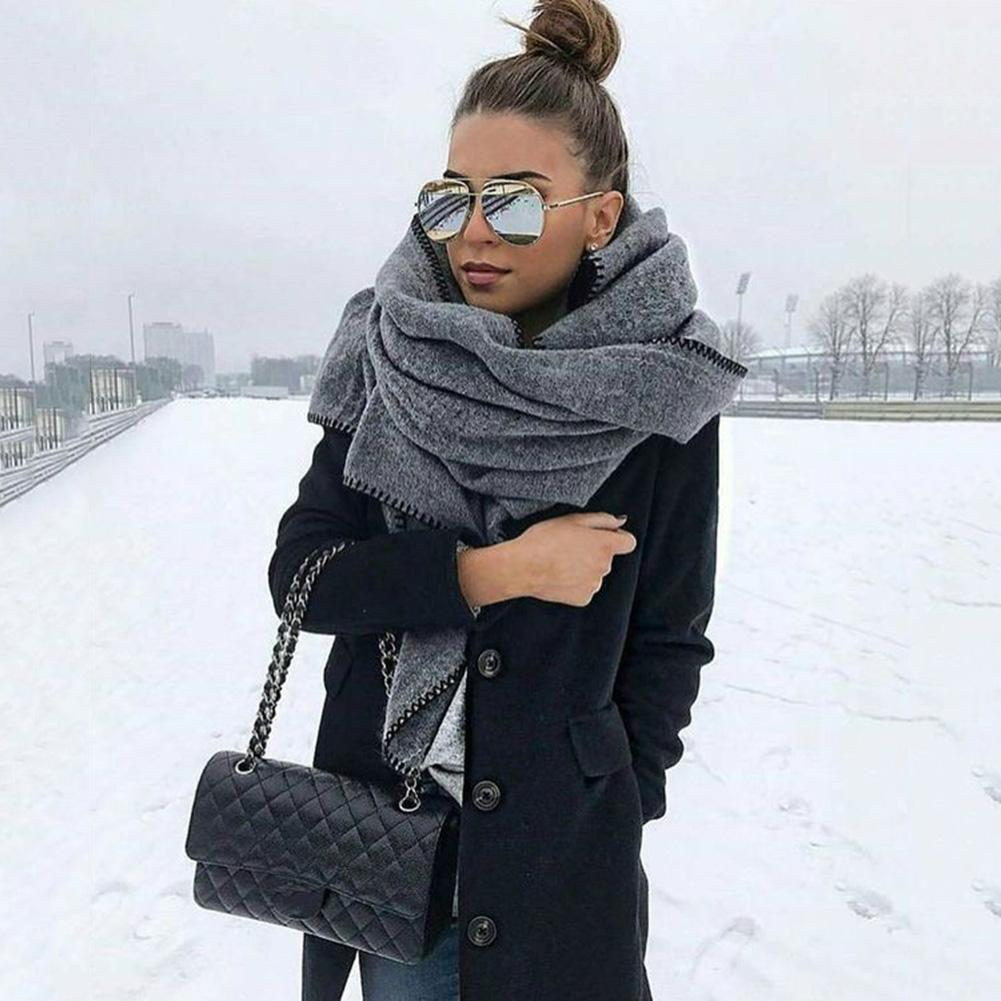 200cm Autumn Winter Scarf Women Solid Color Fleece Scarf Warm Shawl Outdoor Neck Wrap Outdoor Windproof Soft Scarve Accessory(China)